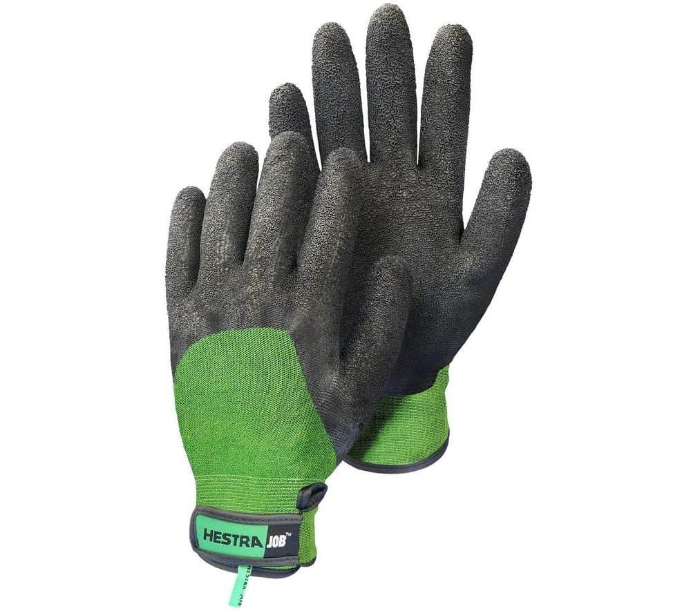 Black bamboo gloves with green accents.