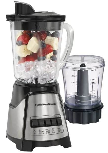 Blender with dispensing spout.