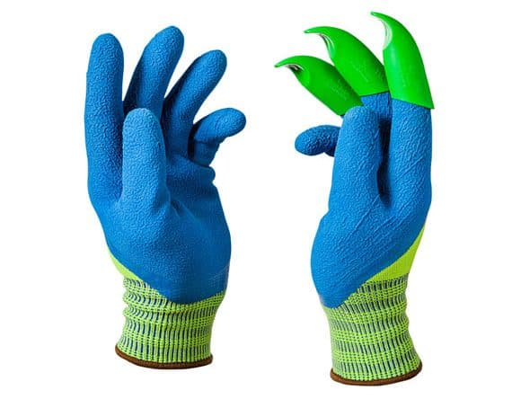 Blue and green garden gloves with claws.