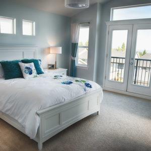 Blue primary bedroom