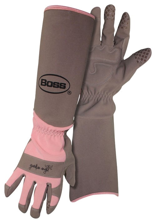 Brown and pink garden gloves with forearm protection.