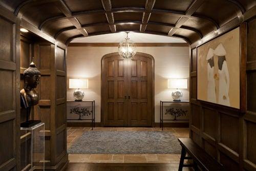 Dark brown Asian foyer.