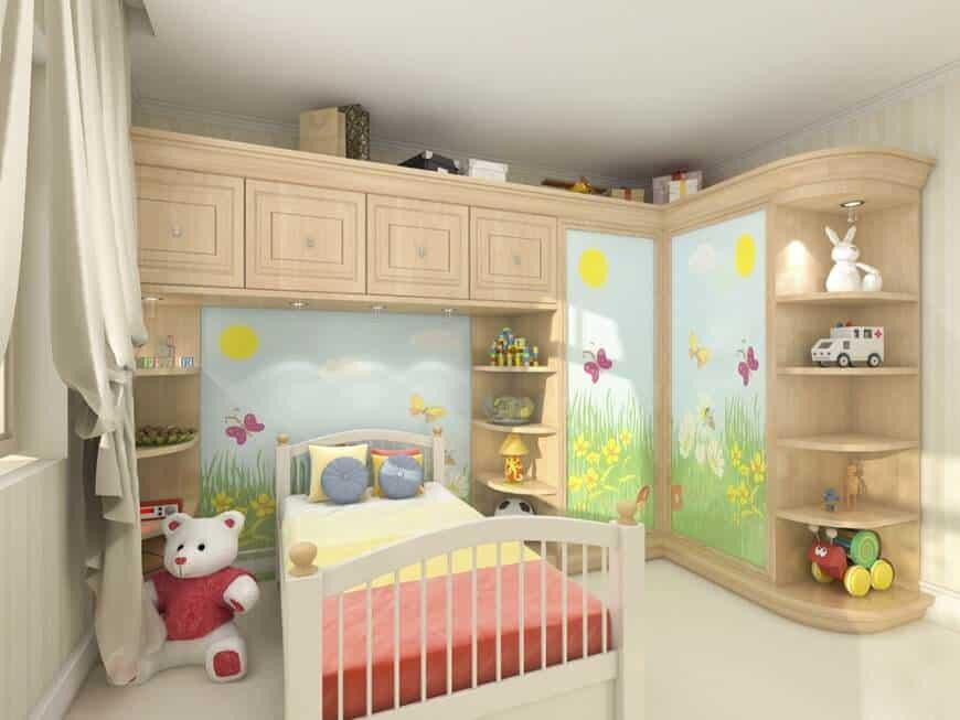 Brown kids' bedroom.
