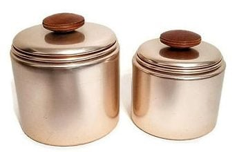 Brushed copper food storage containers.