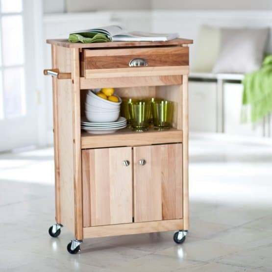 Butcher block microwave cart.