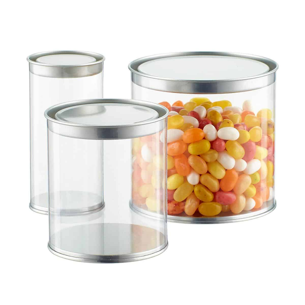 Containers with metal lids.
