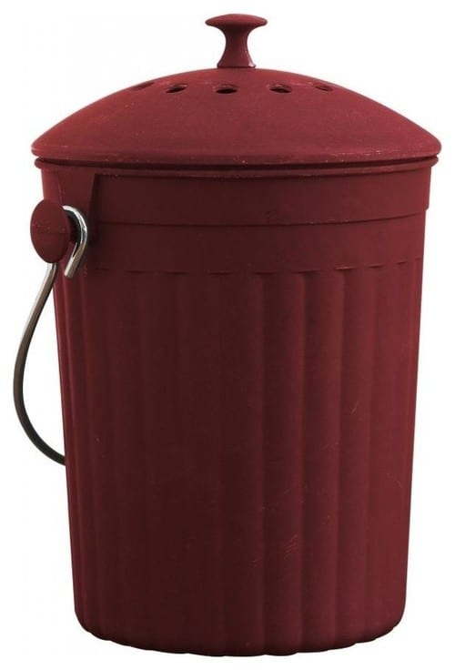 A cherry compost bin in a contemporary style.