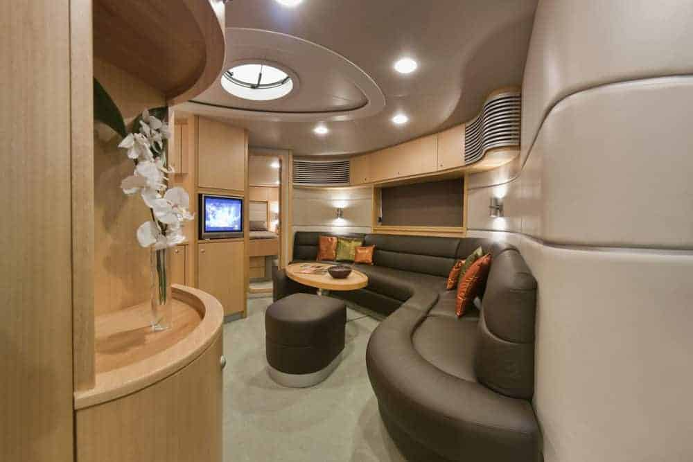 cool yacht interior with black sofa