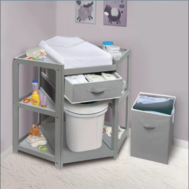 Corner baby changing table.