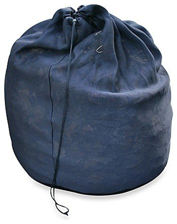 Foldable compost sack in dark blue.