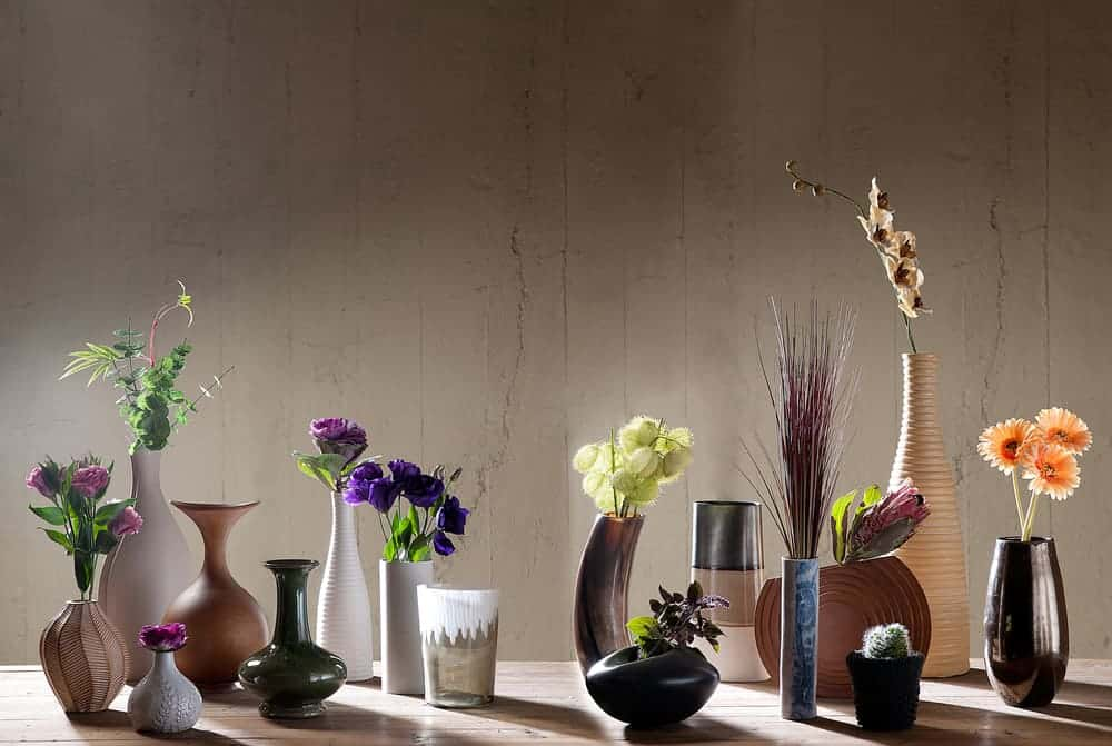 Different decorative vases for home interior.