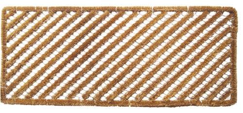 Rectangular boot scraper with diagonal stripes.