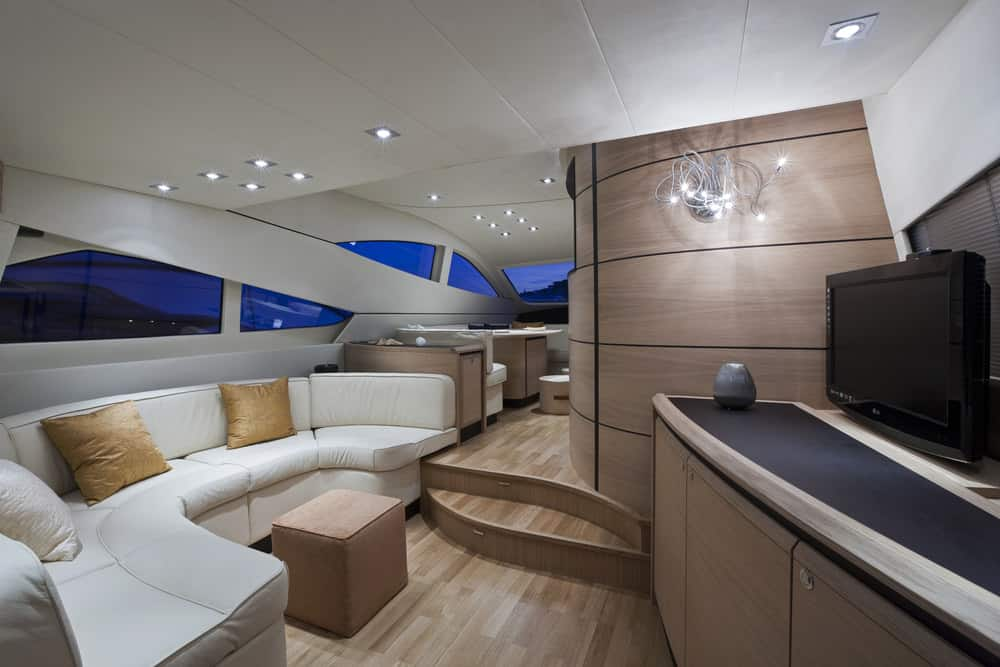 dining and lounge interior luxury yacht Abacus 62