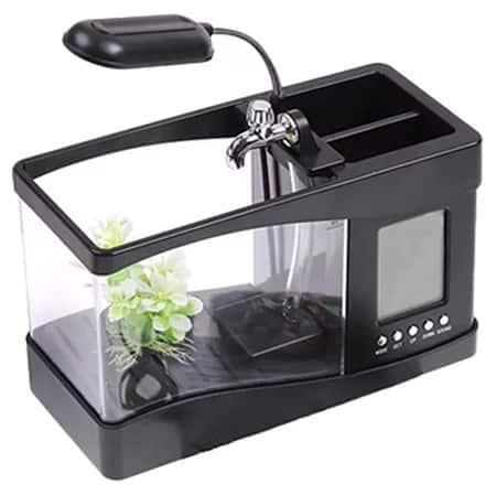 Fish tank with alarm clock.