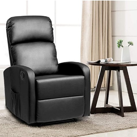Giantex Recliner ChairBlack Lounger Leather Sofa Seat Home Theater