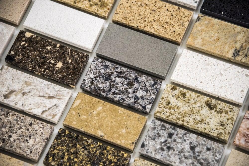 This is a close look at various samples of granite countertop slabs.