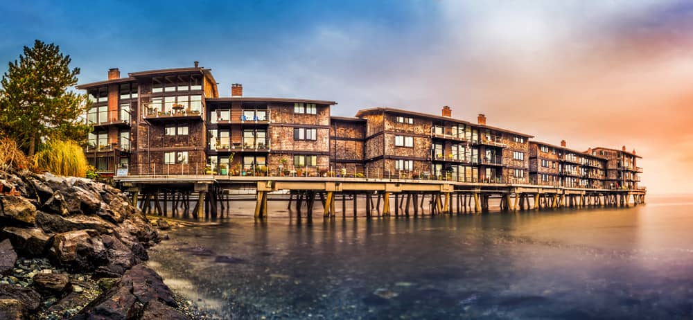Huge condo complex built entirely on long pier over the water on the west coast of the United States.
