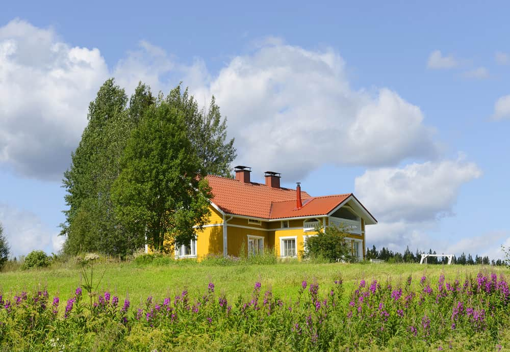 Yellow country house in meadow with bright red roof.
