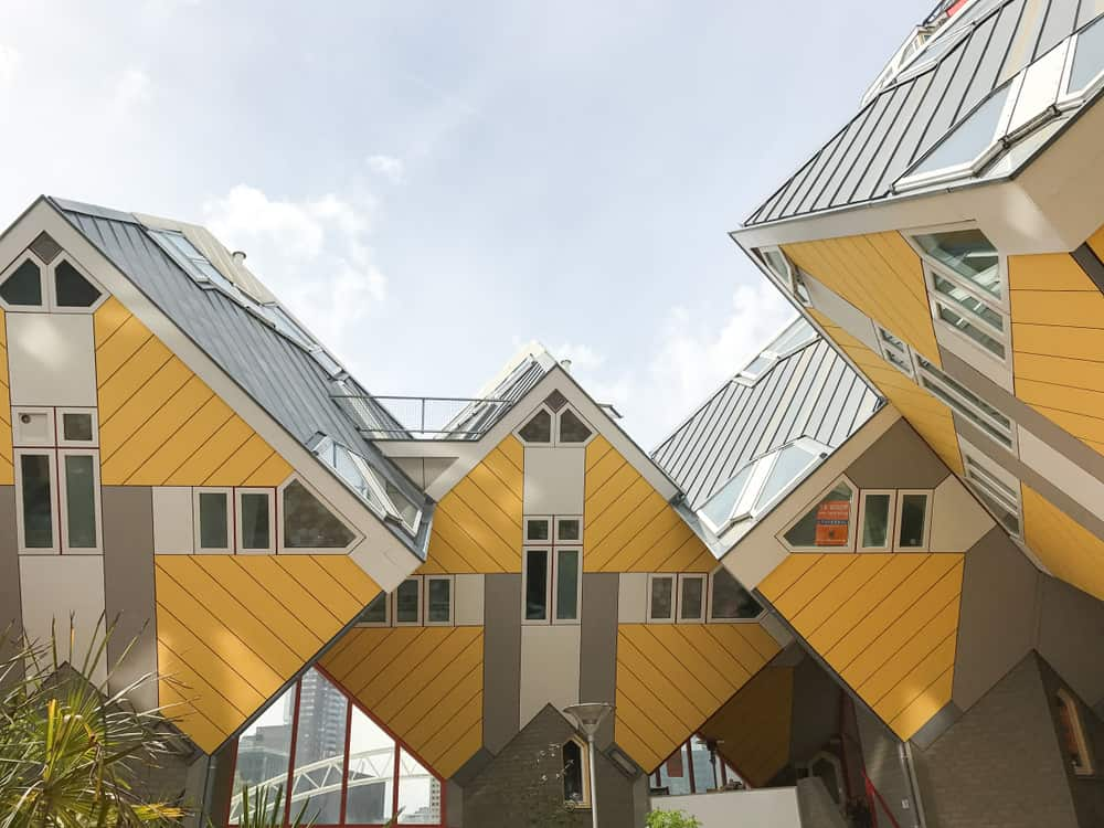 Famous yellow cube house apartments in Rotterdam, Netherlands.