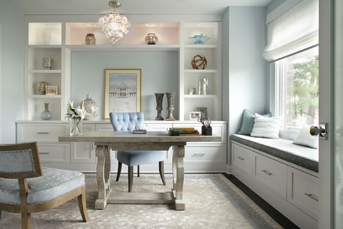 Powder blue Transitional home office.