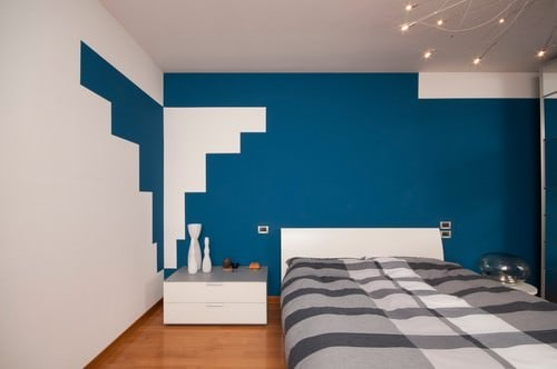 Prussian blue Modern bedroom.