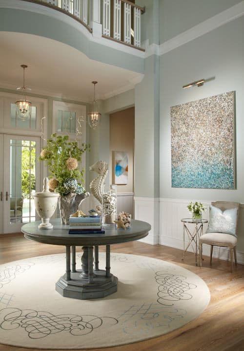 Powder blue Beach Style foyer.