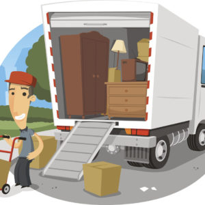 Illustration of movers loading a moving truck