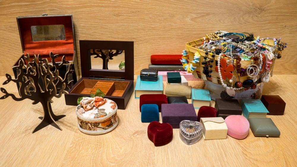 Different jewelry storage options.