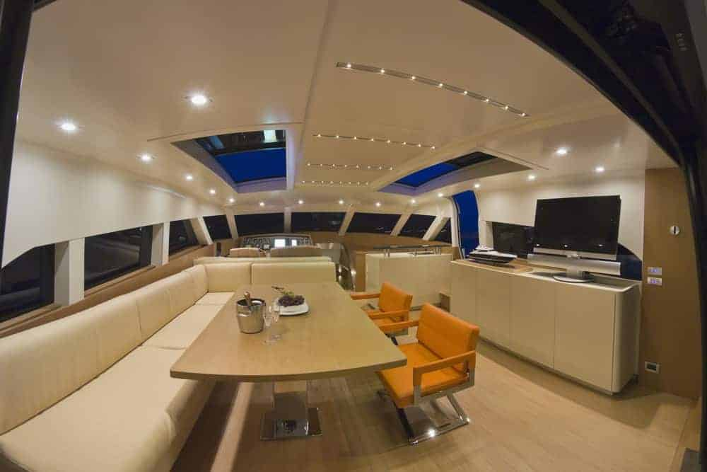 large dinette and living room on yacht