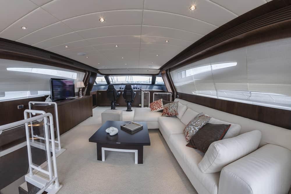 large yacht living room white sofa