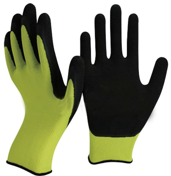 Latex garden gloves in green and black.