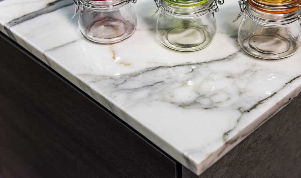 A closer look at a light marble countertop.