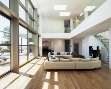 Large modern living room without a fireplace