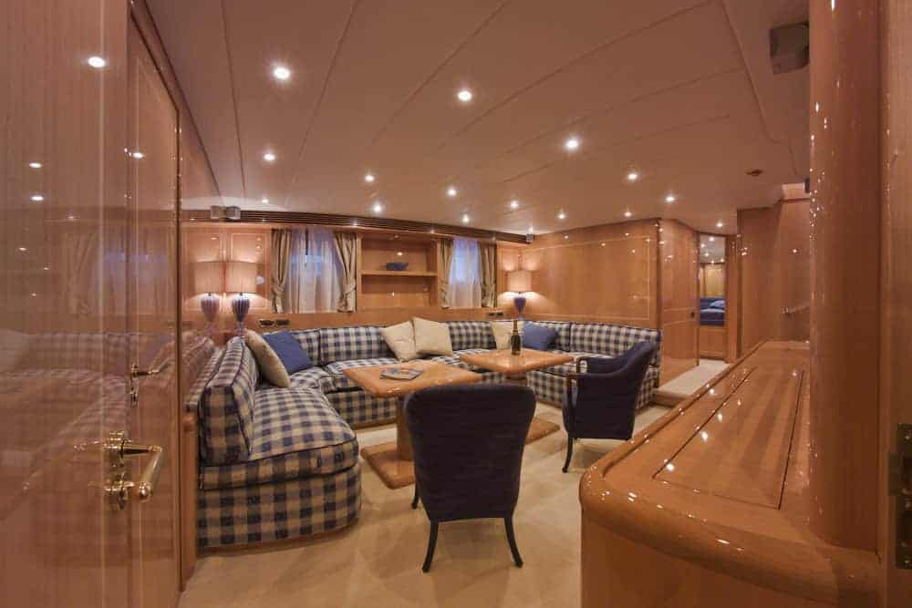lower cabin dinette area luxury yacht