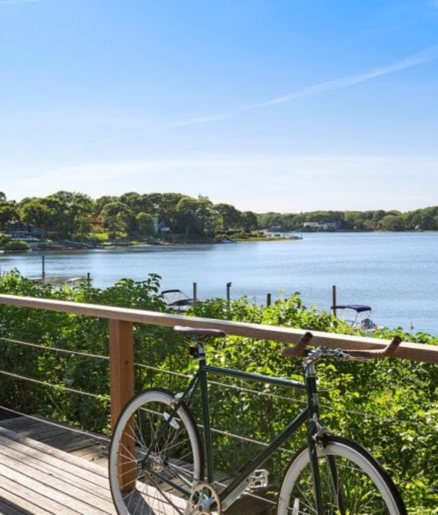 The deck overlooks the Sag Harbor's waterfront.