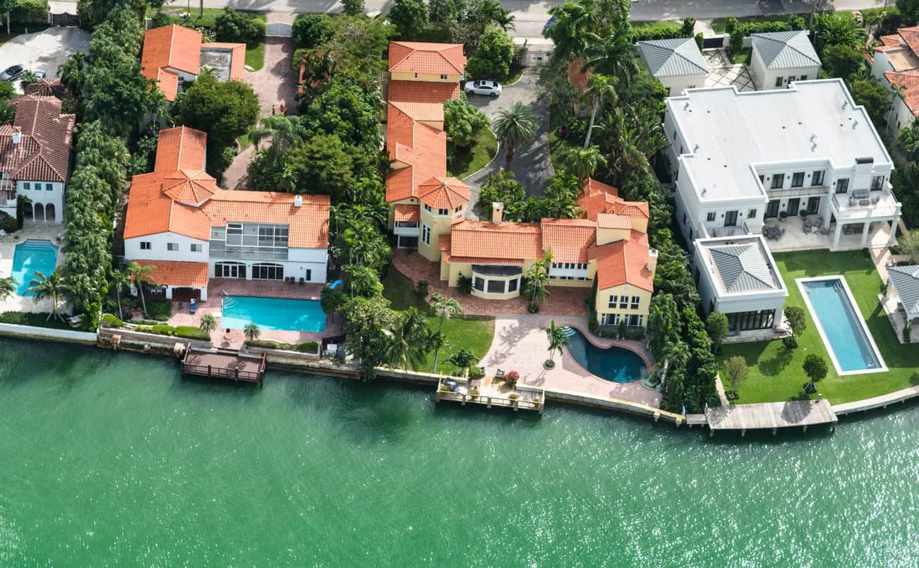 Luxury waterfront villas (aerial view)