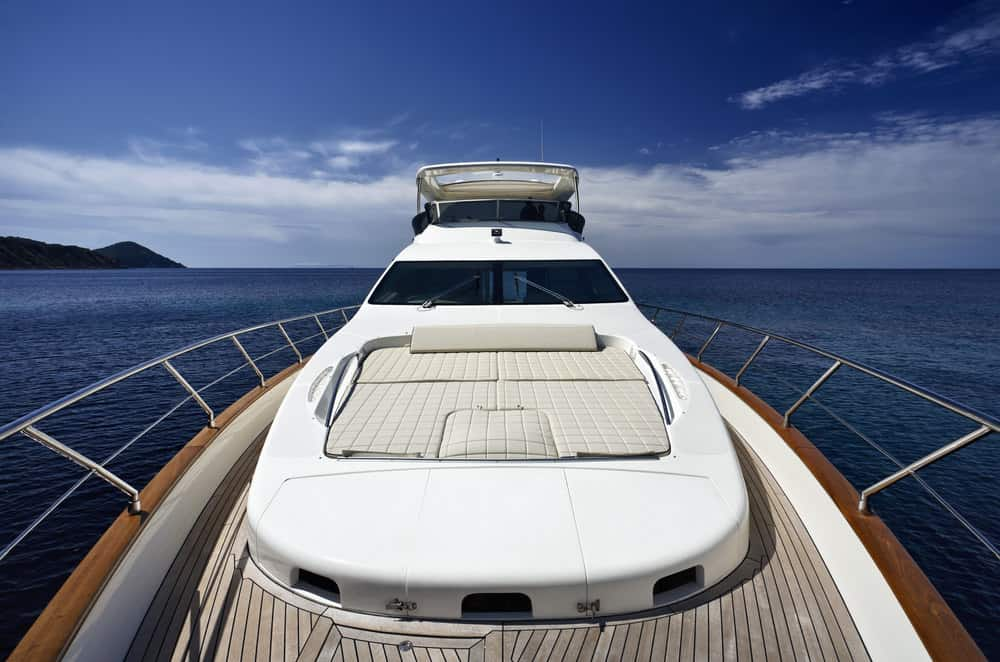 Two-level front bow deck on mega yacht.