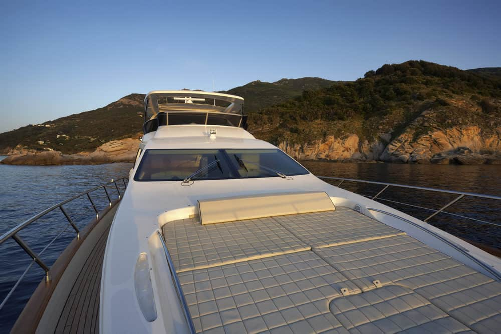 Front bow deck with padded surface for sun tanning.