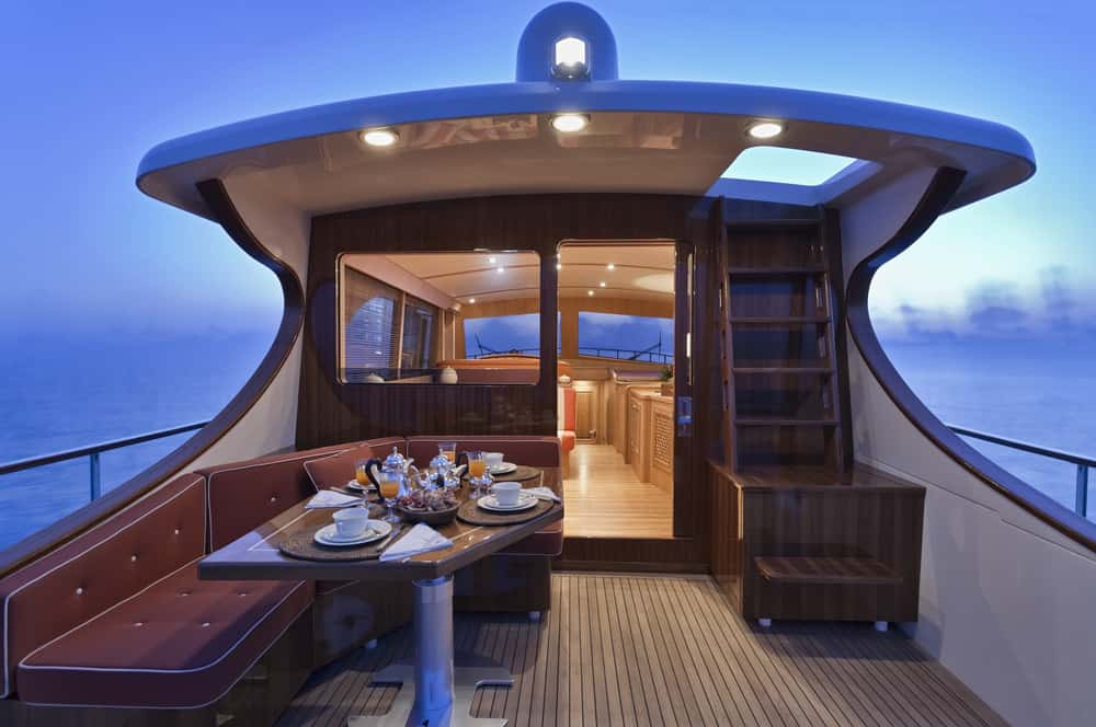 Rear deck on smaller yacht with dinette (uncovered)