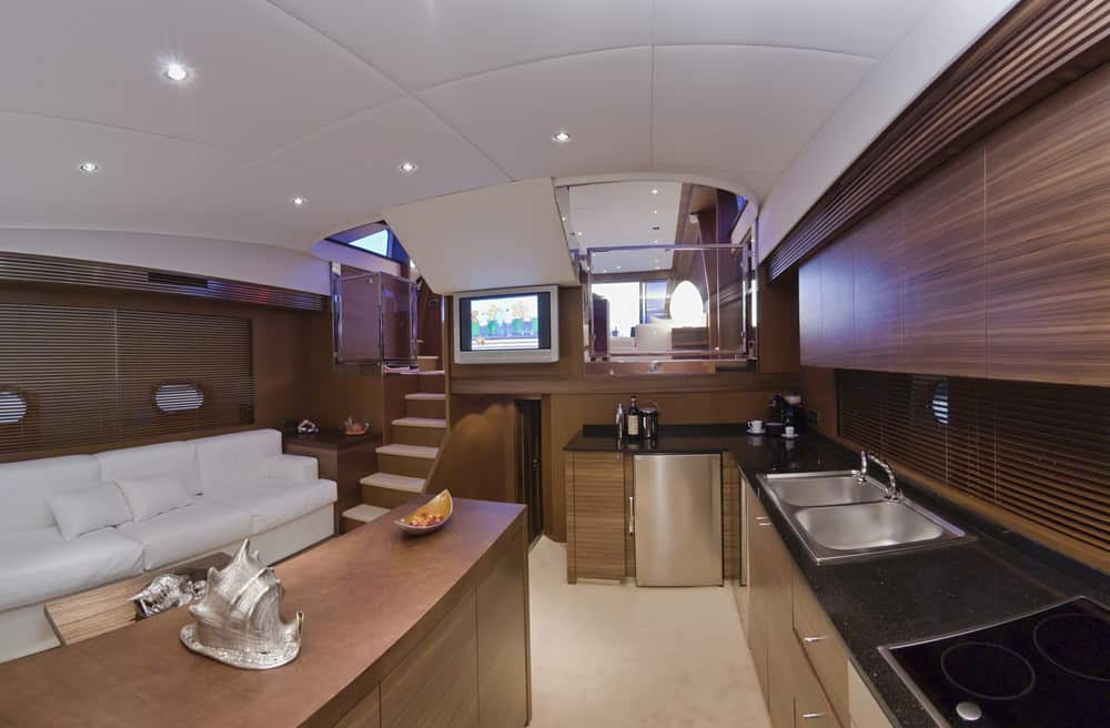 luxury yacht kitchen living room