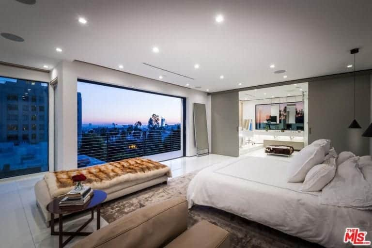 Another Look Of The Bedroom Showcasing The Private Balcony Overlooking The  Hollywood Hills.