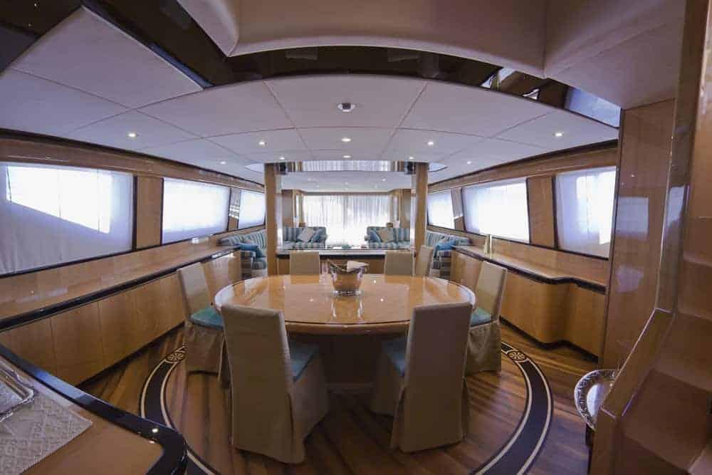 mega yacht dining room
