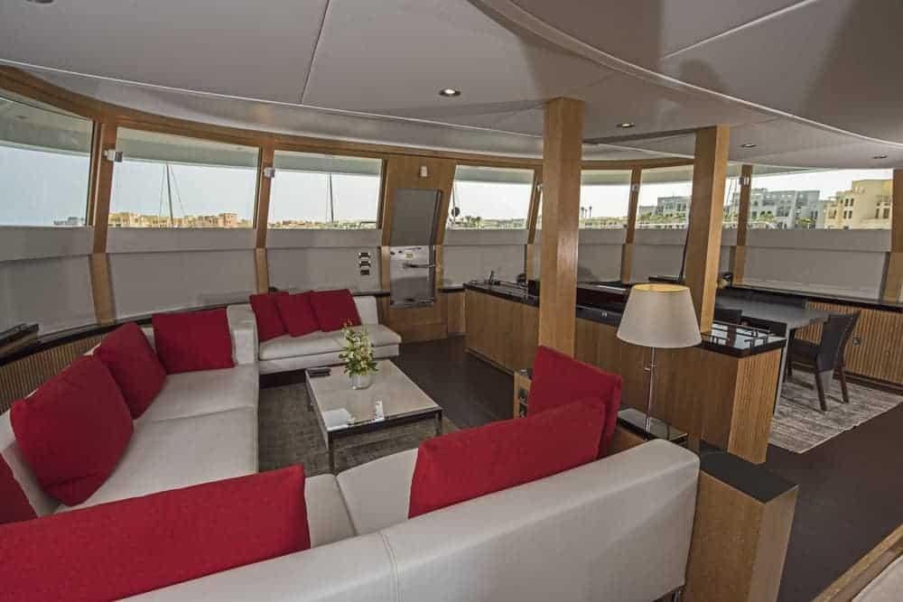 mega yacht living room white sofas