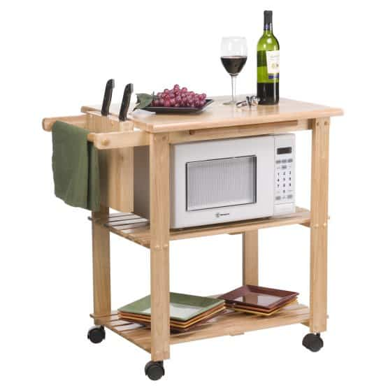 Microwave cart with knife block.