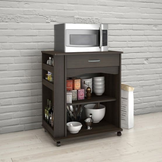Microwave cart with spice storage.