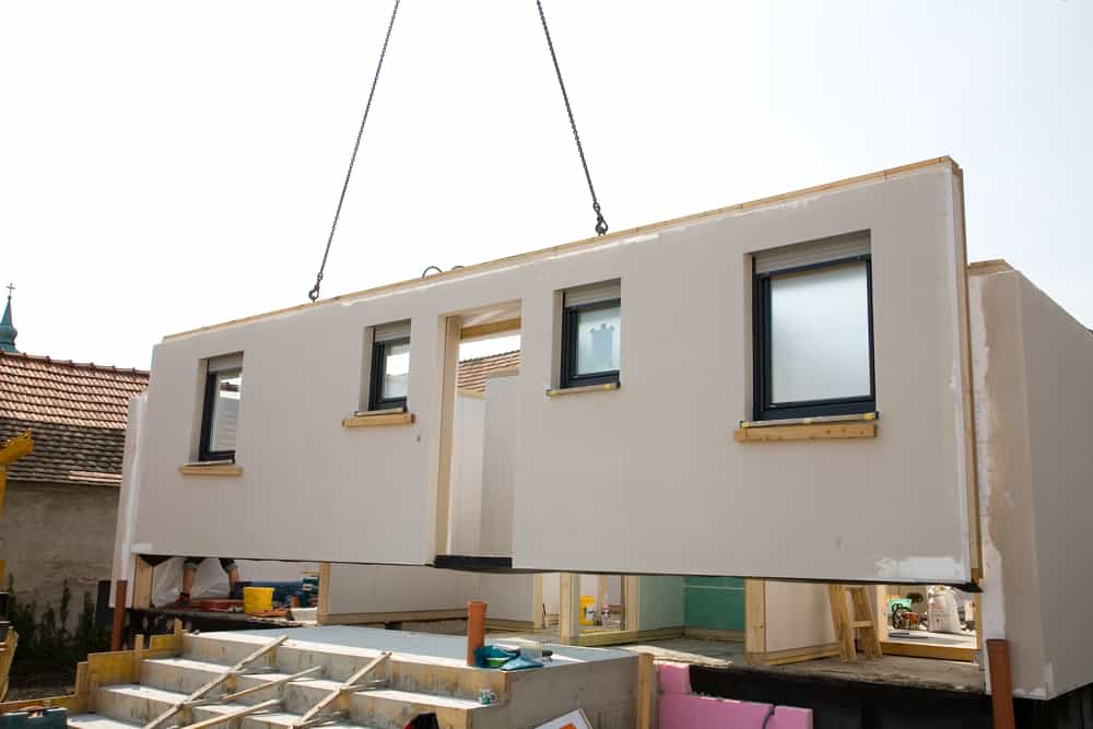Construction of a modular home.