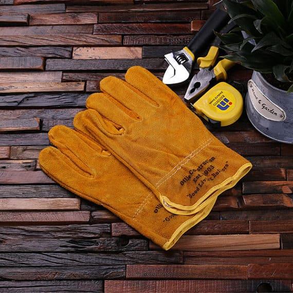 Leather suede garden gloves in Mustard Yellow.