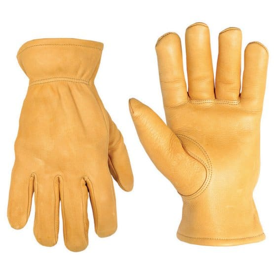 Waterproof gloves with a yellow mustard shade.