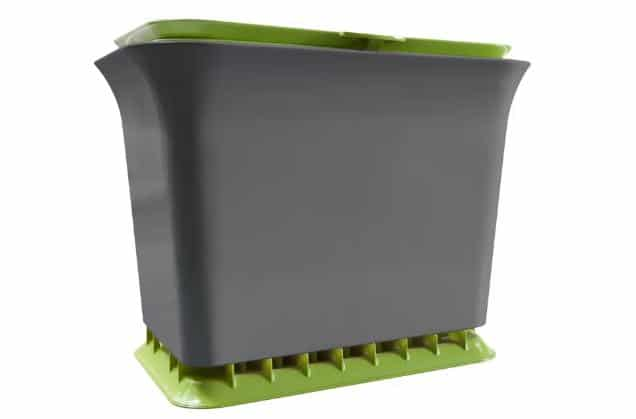 Green and gray, odor-resistant composter.