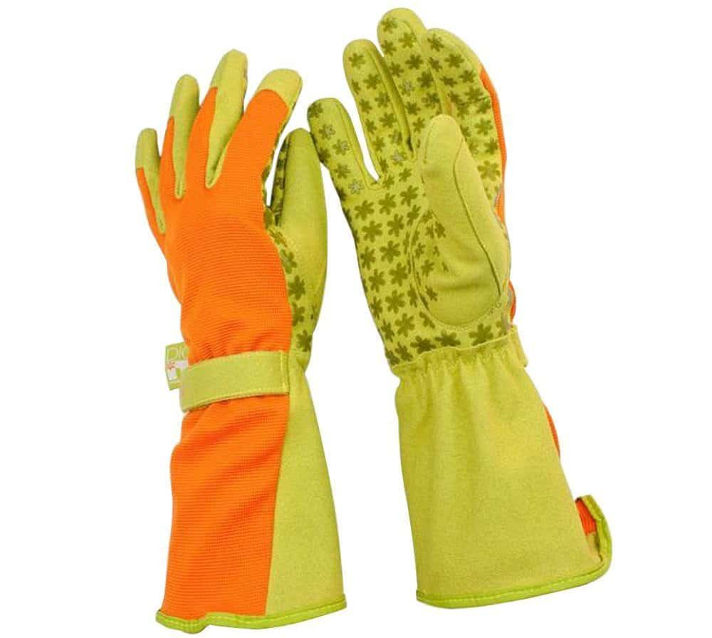 Bright-colored garden gloves in green and peach colors, made out of synthetic leather.